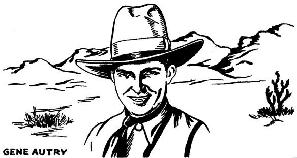 A depiction of Gene Autry featured on an early 1930s Perfect record sleeve.