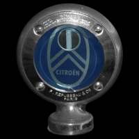 Logo Citroen C6 in einem Boyce MOTO METER Kühlerthermometer