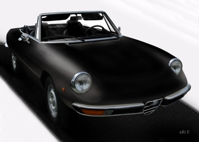 Alfa Romeo Spider in Poster black & darkblack 02