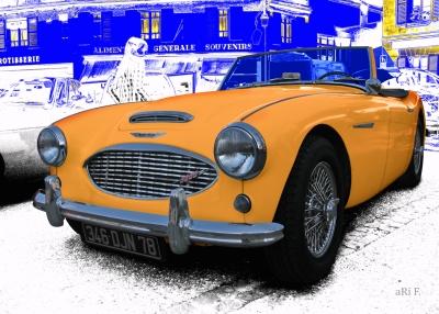 Austin-Healey 3000 Mk II in blue & orange