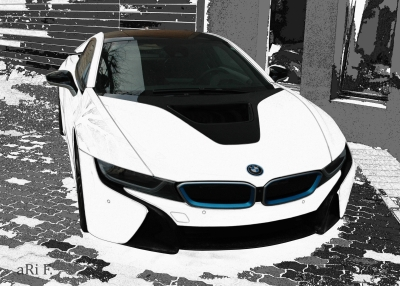 BMW i8 Poster in black & white