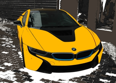 BMW i8 in black & yellow front