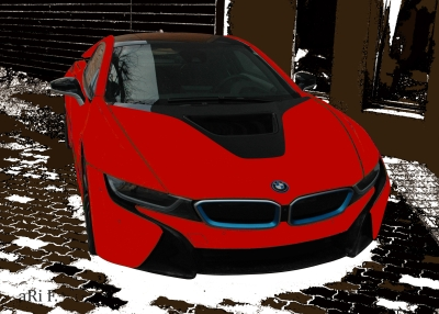 BMW i8 in black & red front