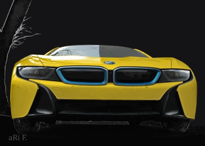 BMW i8 in black & yellow