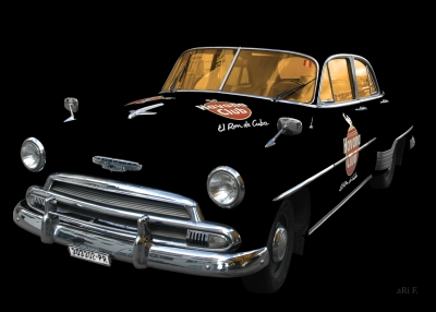 Chevrolet Deluxe Poster with Havana Club only chrome & glass
