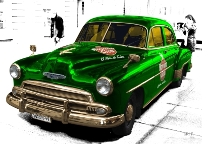 Chevrolet Deluxe Poster with Havana Club in special green & white