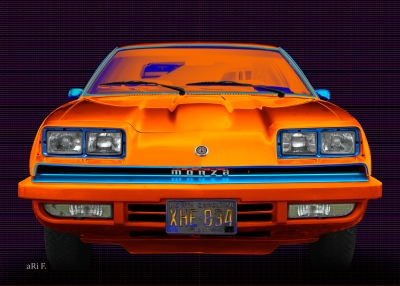 Chevrolet Monza in black & blue-orange