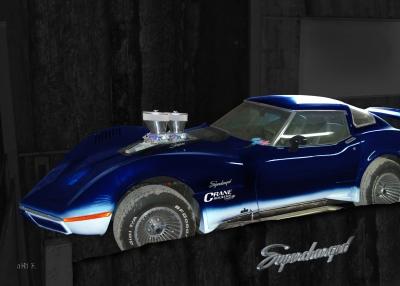 Corvette C3 Supercharged in black & blue (Originalfarbe)