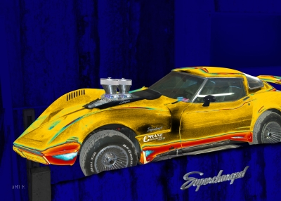 Corvette C3 Supercharged in blue & yellow mix