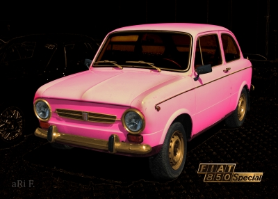 Fiat 850 Special black & cool pink