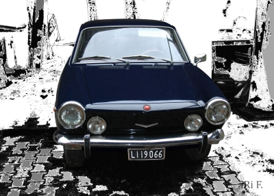 Fiat 850 Coupé Poster in black & white