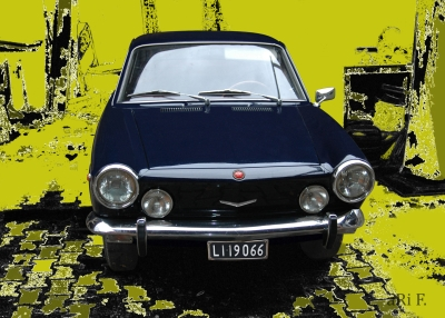 Fiat 850 Coupé Poster in black & yellow