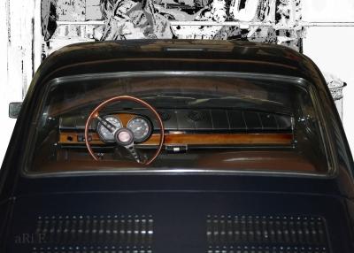 Fiat 850 Coupé Interieur in black & white