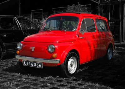 Fiat 500 Giardiniera Kombi in red & black (Originalfoto)