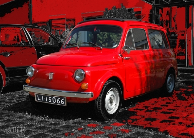 Fiat 500 Giardiniera Kombi in red & red (Originalfoto)