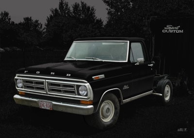 Ford F-100 Poster in black & black (1973–1980)