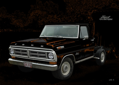 Ford F-100 Poster in black & brown mix
