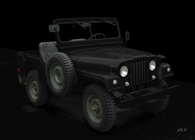 Willys Jeep in black & black
