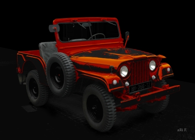 Willys Jeep in black & orange