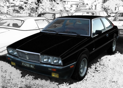 Maserati Biturbo Poster in black & white