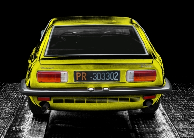 Maserati Indy in black & yellow, rear view