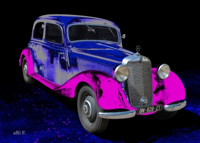 Mercedes-Benz Typ 170 D Poster in blue-pink