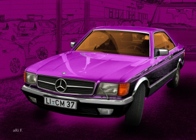 Mercedes-Benz CoupéC 126 Poster in pink & pink (S-Klasse)