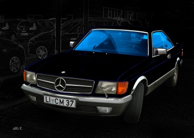 Mercedes-Benz Coupé in black & bluelines (S-Klasse, C 126)