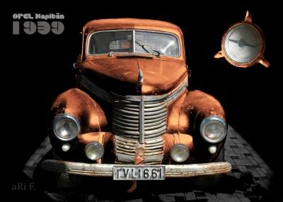 Opel Kapitän '39 Poster in black & sienna in front view