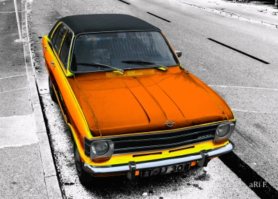 Opel Olympia A in black & orange