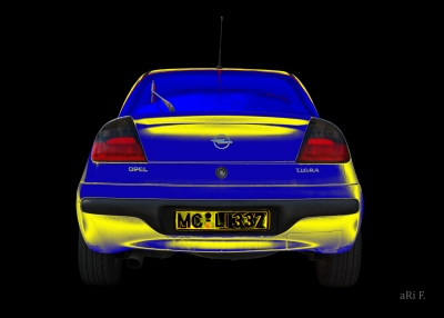 Opel Tigra Poster in blue & yellow 02