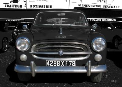 Peugeot 403 in black & black in front