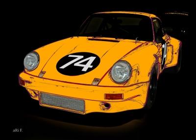 Poster Porsche 911 Carrera RSR 3.0 in yellow