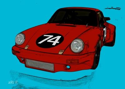 Poster Porsche 911 Carrera RSR 3.0 in red & light blue