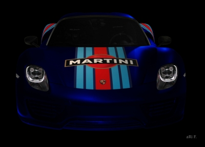 Porsche 918 Spyder Poster in black & blue