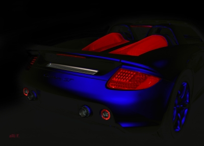 Porsche Carrera GT (Typ 980) Poster in black & blue