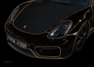 Porsche Cayman GTS (Typ 981c) Poster in black & yellow