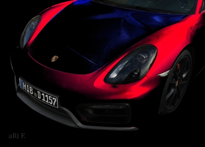 Porsche Cayman GTS (Typ 981c) Poster in red & blue