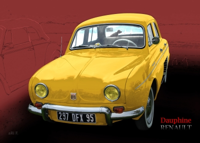 Renault Dauphine in yellow-red, France