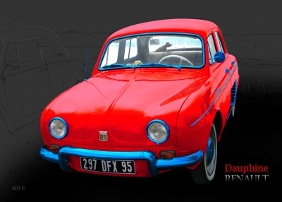 Renault Dauphine in tricolore-rouge 02, France