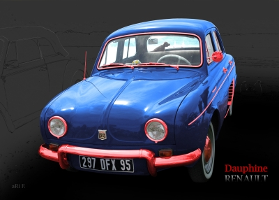 Renault Dauphine Poster in tricolore-bleu 02