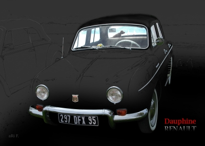 Renault Dauphine Poster in black background