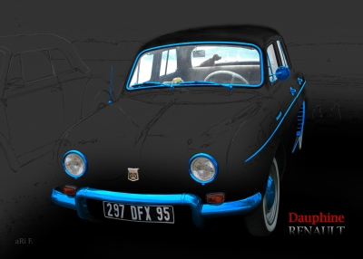 Renault Dauphine Poster in black & blue-chrome