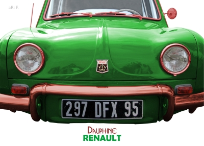 Renault Dauphine in green, France