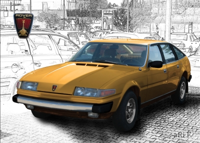 Rover 3500 in gold & black-white