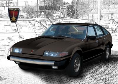 Rover 3500 Poster in black & black-white