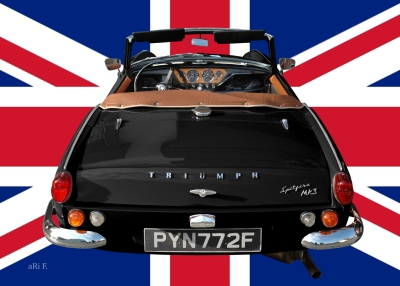 Triumph Spitfire Mk3 in black with Union Jack
