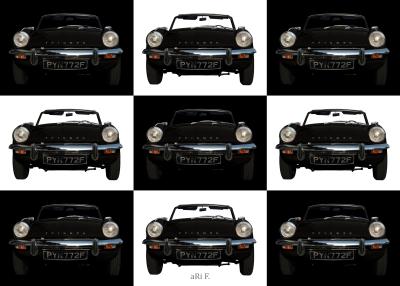 Triumph Spitfire Mk3 Poster in black & white minimalism