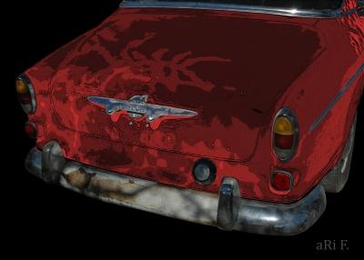 Volvo Amazon rear view in mixed media