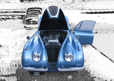 Poster Jaguar XK 120 Coupé Oldtimerfoto